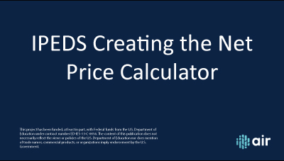 Creating the Net Price Calculator