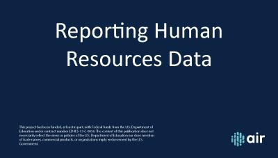 HR Reporting Human Resource Data